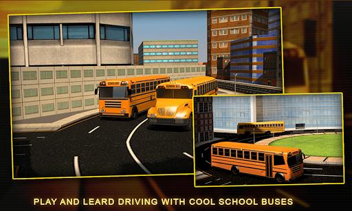 スクールバスの運転手の3Dシミュレータ