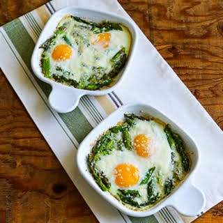 Baked Eggs and Asparagus with Parmesan.