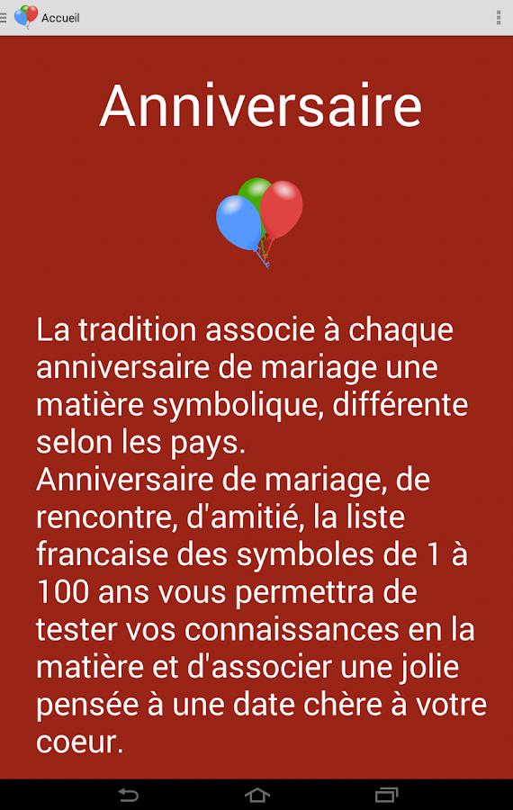 anniversaire de mariage 1 à 100 ans