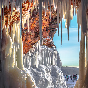 An Ice Cave Entrance by Gary Hanson - Nature Up Close Other Natural Objects ( ice caves, wisconsin, south shore, formations, icicles, lake superior, frozen,  )