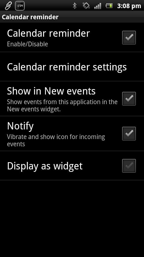 Calendar reminder Smart Extras - screenshot