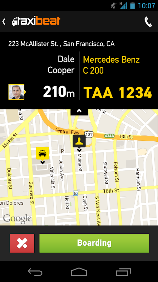 Taxibeat Free taxi app - screenshot