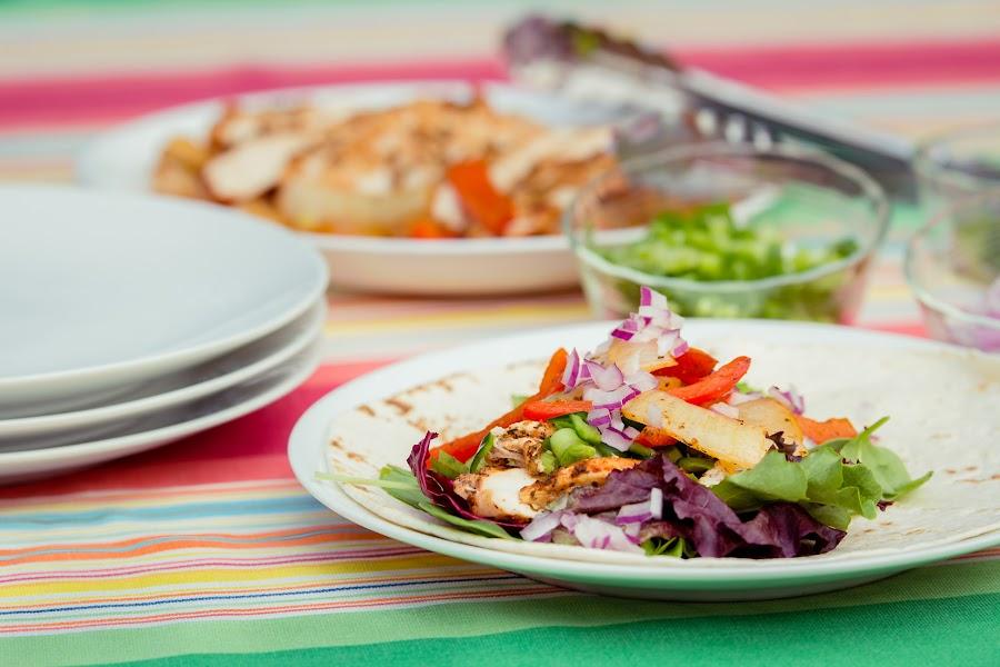 Chicken fajitas by Lisa Mirante - Food & Drink Plated Food ( chicken, peppers, grill, lettuce, food, summer, fajita, stripes, onion )