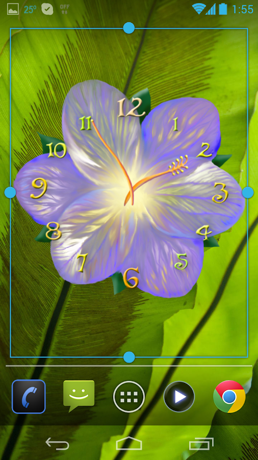 Serene flower clock HD widget- screenshot