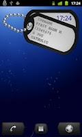 Screenshot of U.S. Military Dog tag  Widget