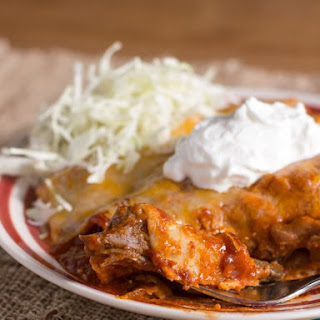 Slow Cooker Shredded Beef Enchiladas.