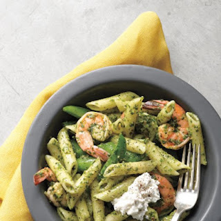 Shrimp and Penne with Spring Herb Pesto.