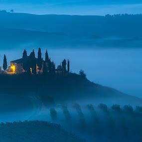 Belvedere_Tuscany by Miroslav Havelka - Landscapes Sunsets & Sunrises ( fogs, tuscany, sunset, landscape, light )