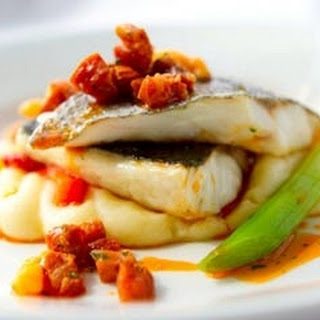 Grilled Sea Bass with Chorizo and Brown Shrimp Recipe