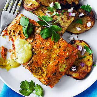 Indian-Spiced Sockeye and Grilled Potato Salad.