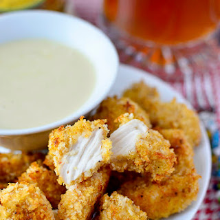 Baked Popcorn Chicken with Maple-Dijon Dipping Sauce