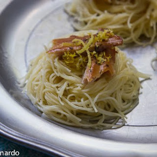 Angel Hair Nests with Lemon and Smoked Trout.