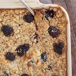 Baked Oatmeal with Blackberries, Coconut and Banana.