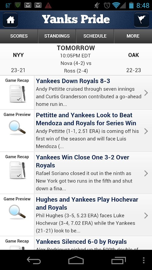 Baseball by StatSheet - screenshot