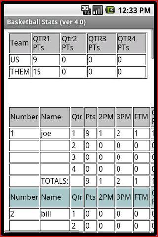Basketball Stats- screenshot
