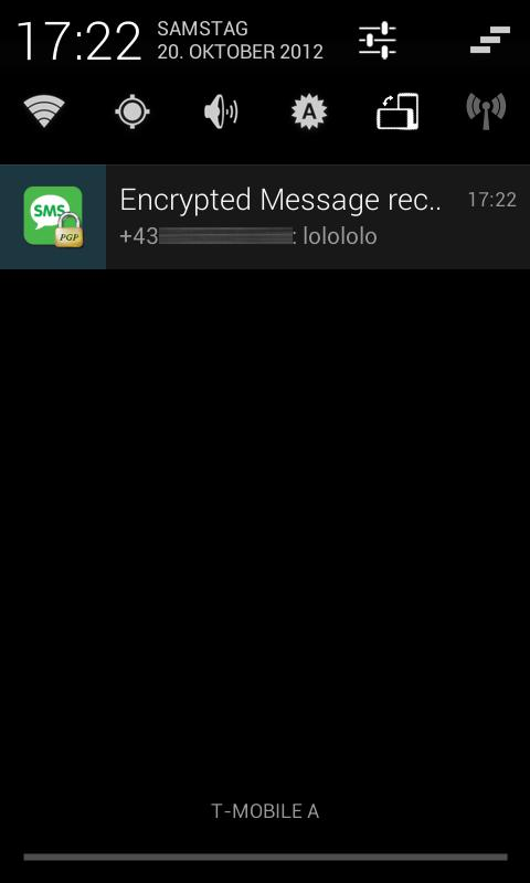 PGP SMS lite - screenshot