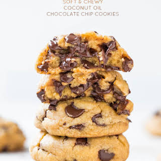 The Best Soft and Chewy Coconut Oil Chocolate Chip Cookies.