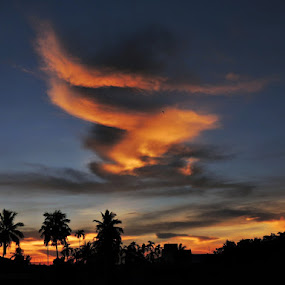 Canvas by Pritha Gupta - Landscapes Cloud Formations ( nature art, sunset, nature up close, cloudscape, skyscape )