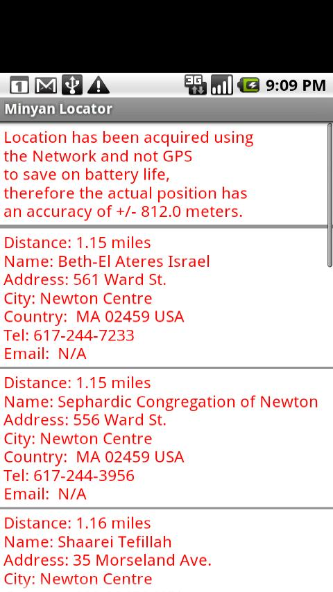 Minyan Locator- screenshot