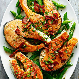 Salmon with Snap Peas, Bacon, and Mint