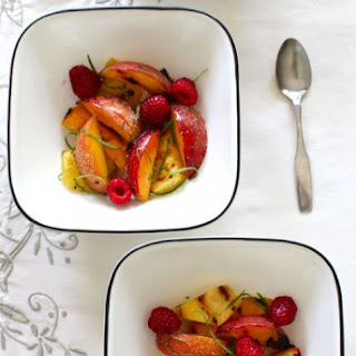 Grilled Fruit Salad with Lime Zest & Vanilla Sugar.