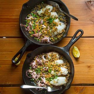 Seared Calamari with Breadcrumbs and Lemon