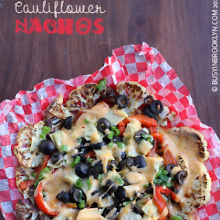 Cauliflower Nachos with Harissa Cheddar Sauce