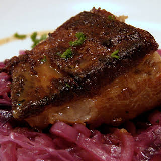 Slow Cooker Pork Belly with Braised Apples and Cabbage.