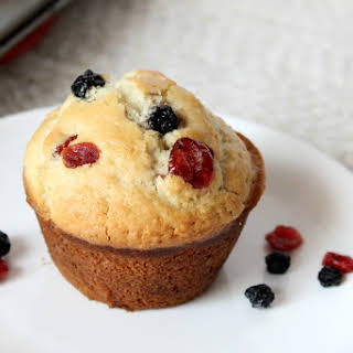 Healthy Blueberry Cranberry Muffins.
