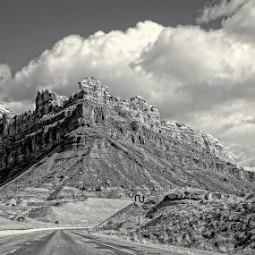 S-Curve by Michael Velardo - Black & White Landscapes ( mountains, nature, outdoors, s-curve sign, colorado, b & w, road, landscape,  )