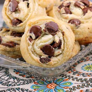 Chocolate Chip Cream Cheese Puff Pastry Cookies.