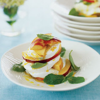 Peach and Mint Caprese Salad with Curry Vinaigrette.
