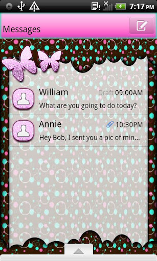 GO SMS THEME ButterflyBubbles1