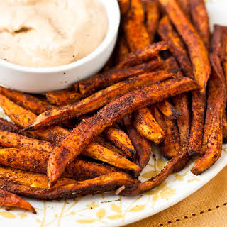 Baked Sweet Potato Fries with Chipotle Ranch Dressing.