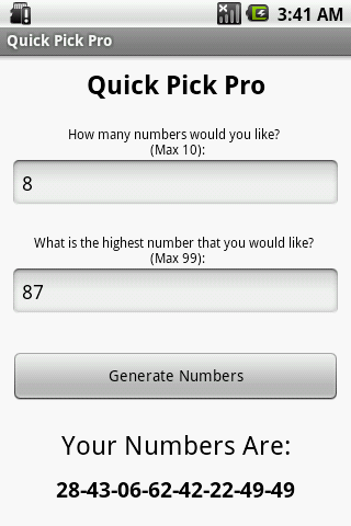 Lotto Quick Pick Pro - screenshot