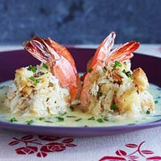 Double-Stuffed Shrimp with Beurre Blanc.