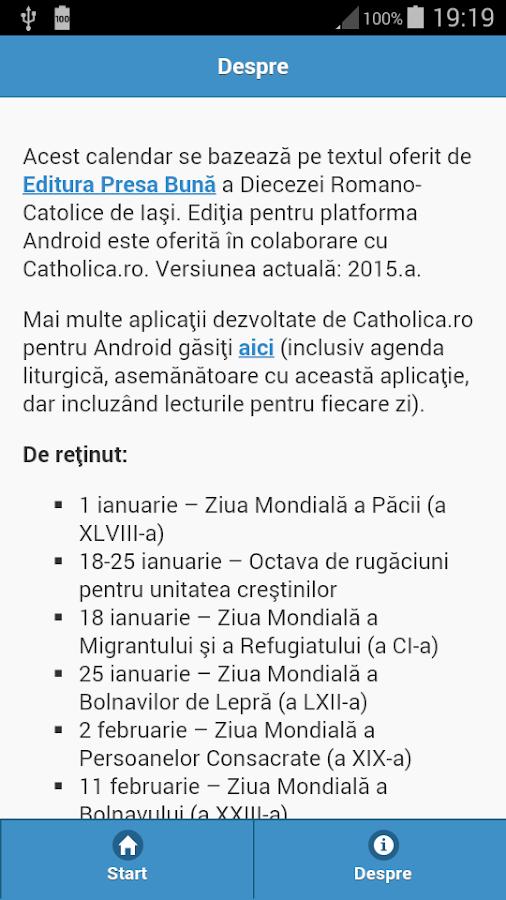Calendar Romano-Catolic 2015 - screenshot