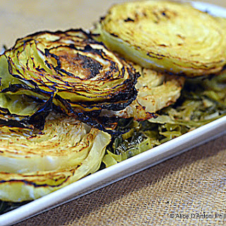Oven Roasted Charred & Caramelized Cabbage Rounds.