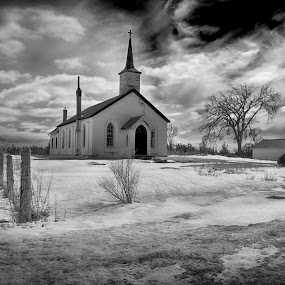 Church Reno by Lisa Wessels - Buildings & Architecture Places of Worship ( dynamic, clouds, fence, hdr, church, black and white, moody )