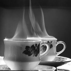 Cupful of warmth by Saptarshi Datta - Black & White Objects & Still Life ( cup, monochrome, windowlit, black and white, tea,  )