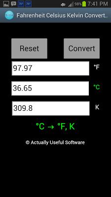 Fahrenheit Celsius Kelvin Conv - screenshot