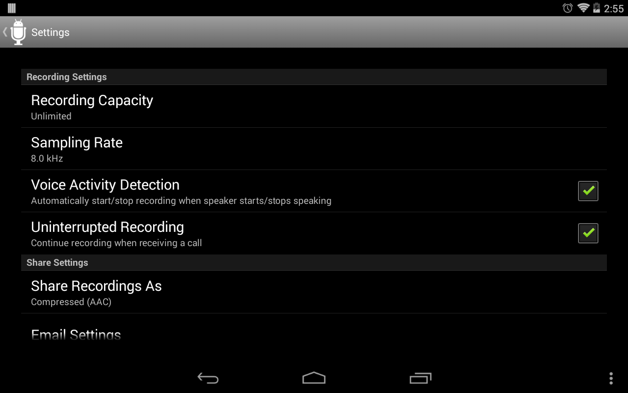 Dictadroid Voice Recorder- screenshot