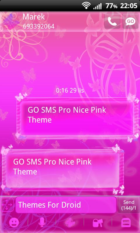 Nice Pink Theme for GO SMS Pro- screenshot