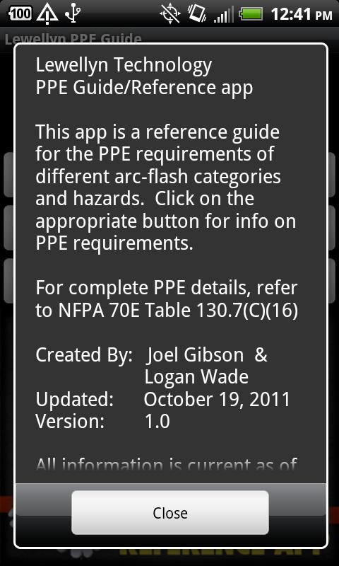 Lewellyn PPE Reference App - screenshot