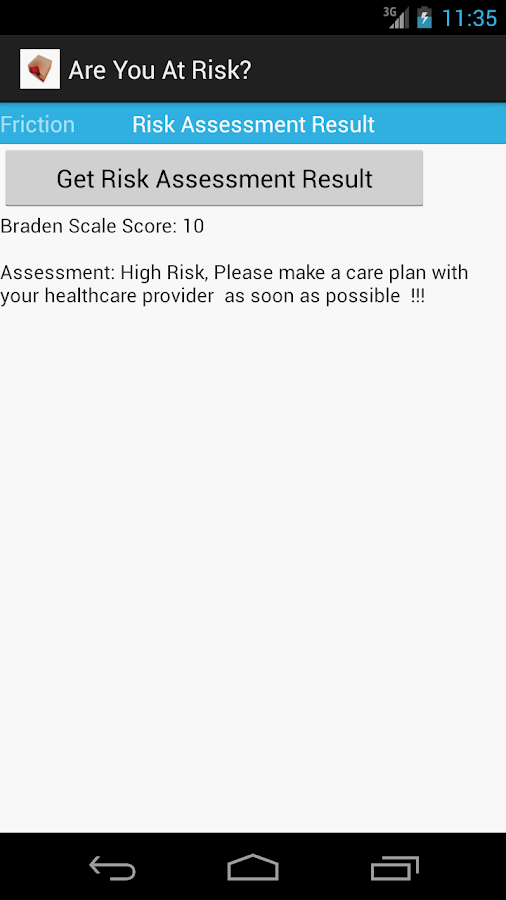 Braden Scale 4 Pressure Ulcer- screenshot
