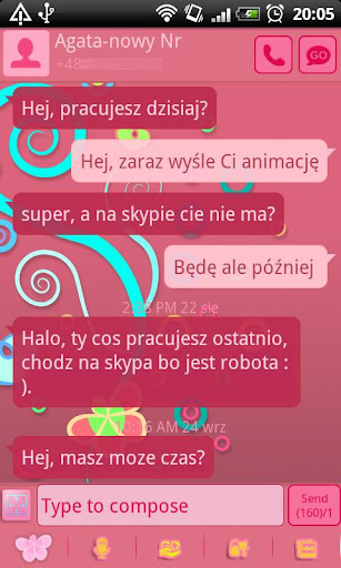 GO SMS Pro Pastel Pink Theme