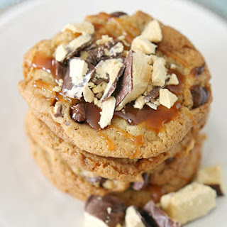 Caramel Violet Crumble Chocolate Chip Cookies