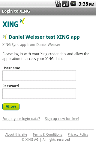 XING Sync- screenshot