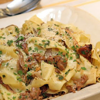 Pappardelle with Spicy Sausage and Mixed Wild Mushrooms.