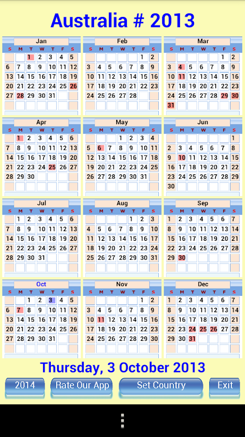 Cool Calendar Holidays 2014- screenshot